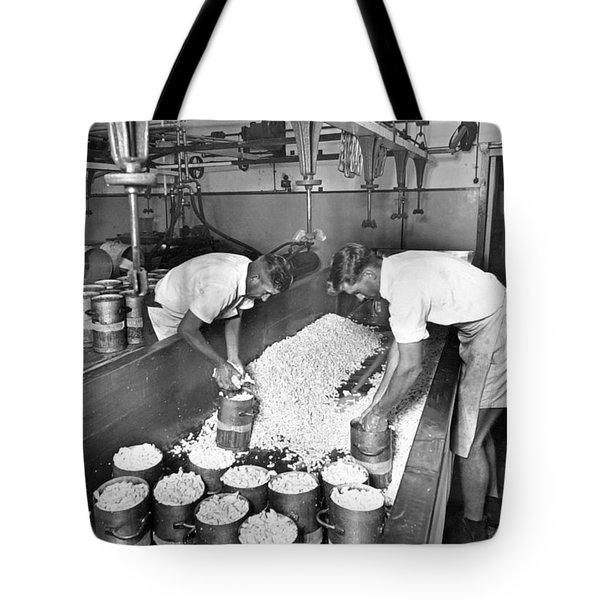 Hooping Of The Curd  Mount Tyson Co Op Dairy Association Cheese Factory  November 1951 Tote Bag