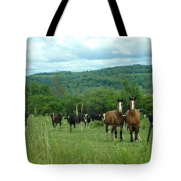 Horse And Cow Tote Bag