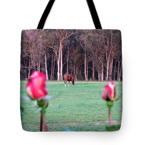 Horse And Roses Tote Bag
