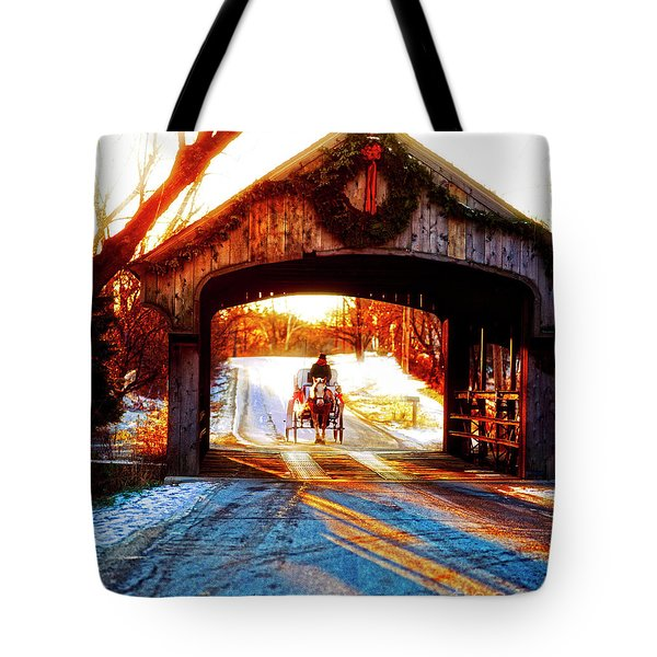 Tote Bag featuring the photograph Horse Drawn Carriage Covered Bridge Long Grove Il 014060036 by Tom Jelen