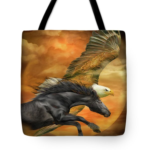 Tote Bag featuring the mixed media Horse And Eagle - Spirits Of The Wind  by Carol Cavalaris
