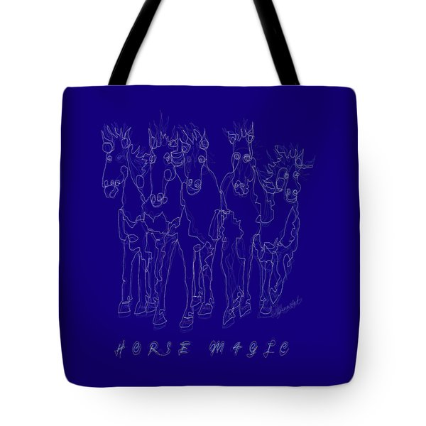 Tote Bag featuring the digital art Horse Magic Line Drawing Horse Silhouette Design by OLena Art Brand