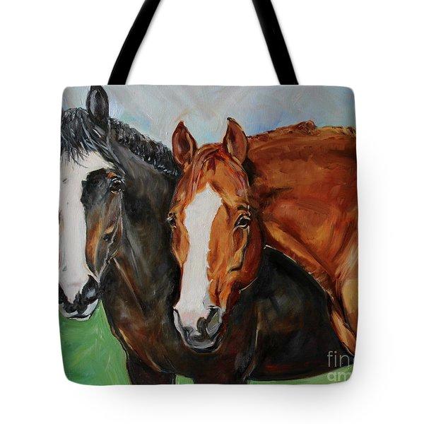 Horses In Oil Paint Tote Bag