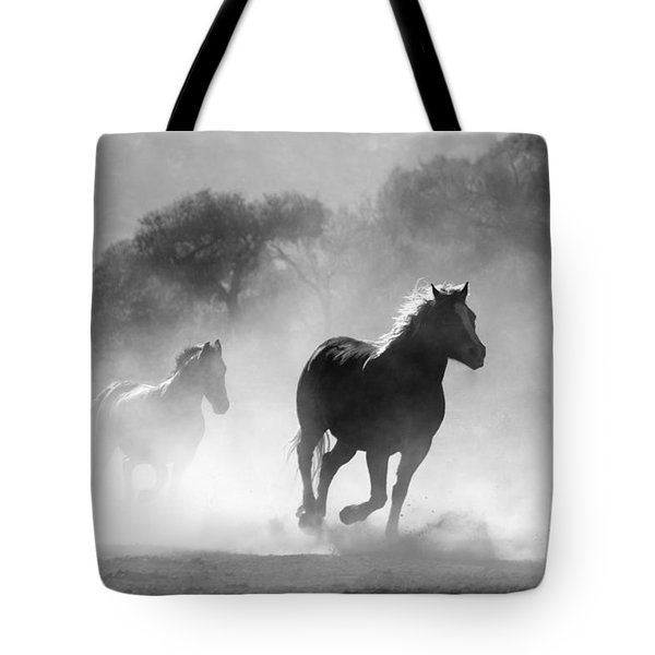 Horses On The Run Tote Bag