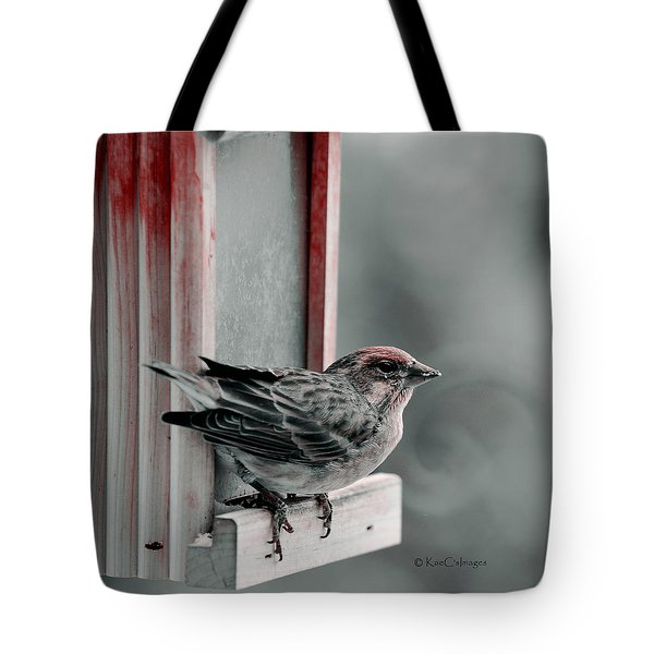 House Finch On Feeder Tote Bag