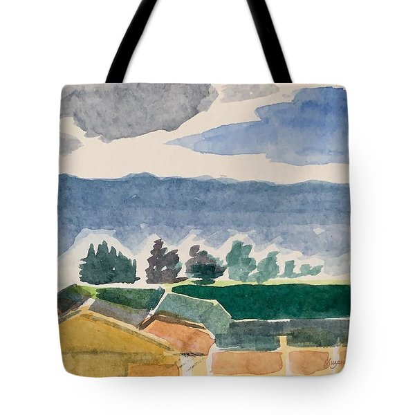 Houses, Trees, Mountains, Clouds Tote Bag