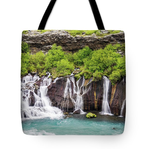 Tote Bag featuring the photograph Hraunfossar Falls - Iceland by Marla Craven