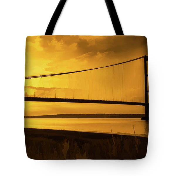 Humber Bridge Golden Sky Tote Bag