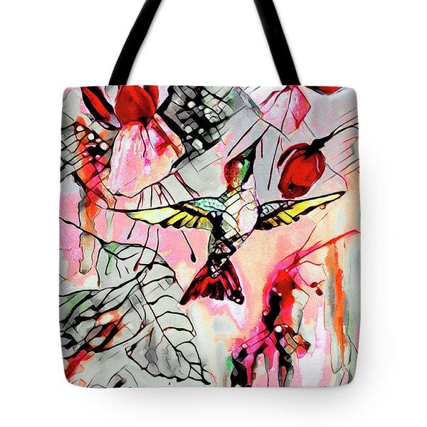 Hummingbird Abstract Modern Bird Art Tote Bag
