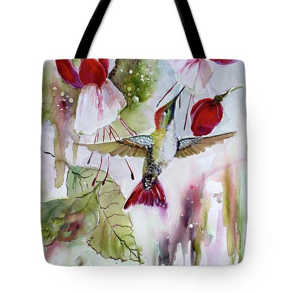 Hummingbird And Flowers Tote Bag