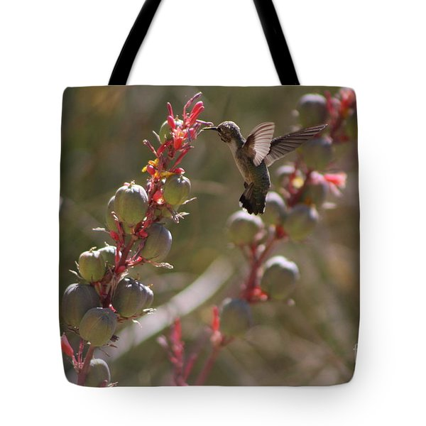 Hummingbird Flying To Red Yucca 3 In 3 Tote Bag