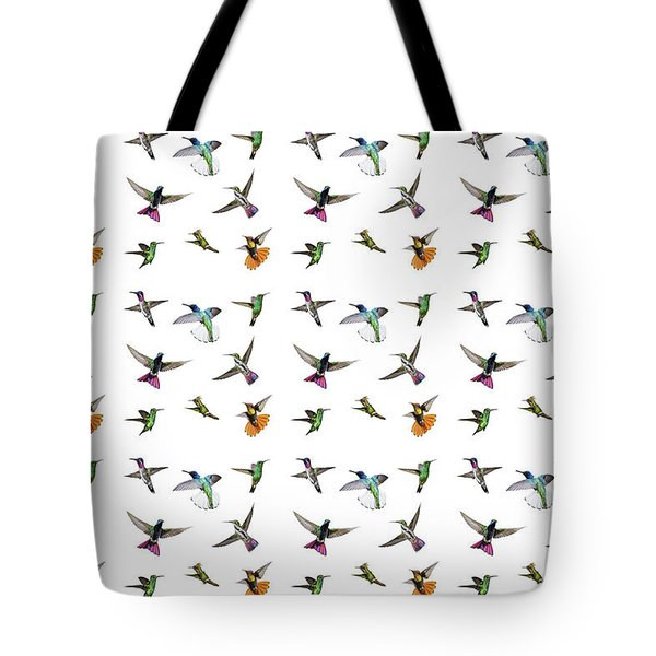 Tote Bag featuring the digital art Hummingbirds Of Trinidad And Tobago On White by Rachel Lee Young
