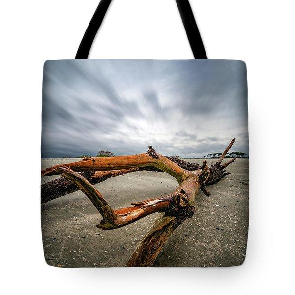 Hurricane Florence Beach Log - Portrait Tote Bag