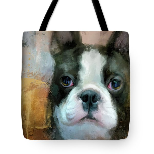 Tote Bag featuring the painting I Adore You Boston Terrier Art by Jai Johnson