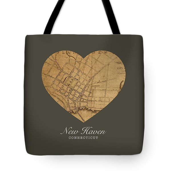I Heart New Haven Connecticut Street Map Love Series No 148 Tote Bag