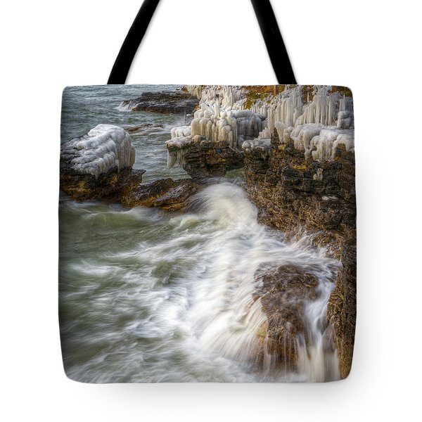 Ice And Waves Tote Bag