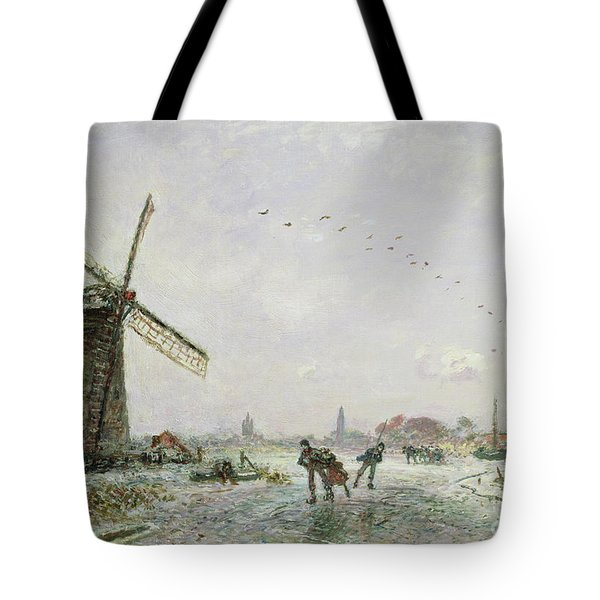 Ice Skaters In Holland, 1872 Tote Bag