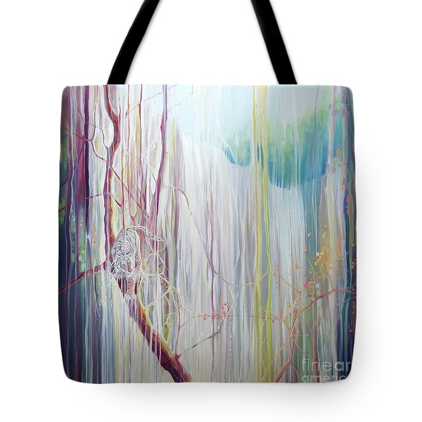 Ice Tiger - A Large Oil On Canvas By Gill Bustamante Of A Tiger By A Waterfall Tote Bag