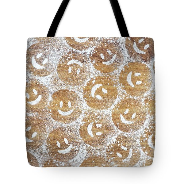 Tote Bag featuring the photograph Icing Sugar Smiley Faces by Tim Gainey