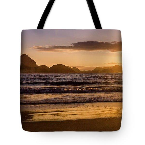 Idyllic Sunrise In Copacabana Beach In Rio De Janeiro, Brazil Tote Bag