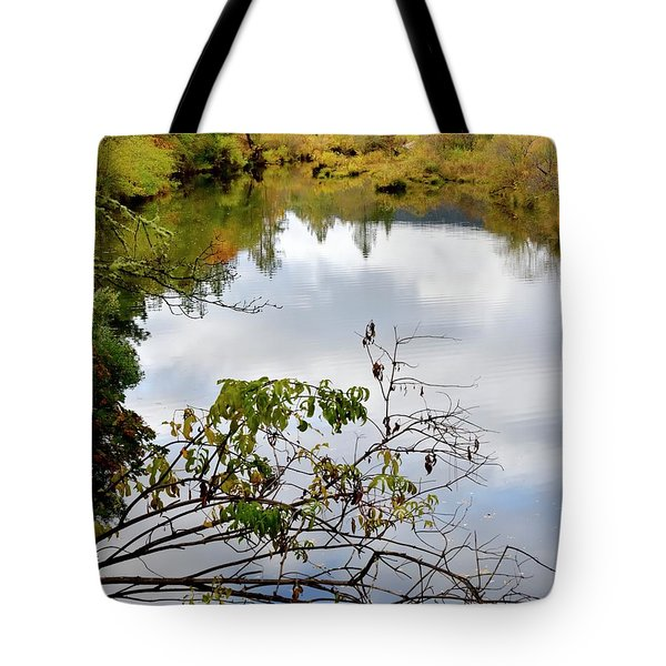 Tote Bag featuring the photograph Illinois River Sky Reflection by Jerry Sodorff