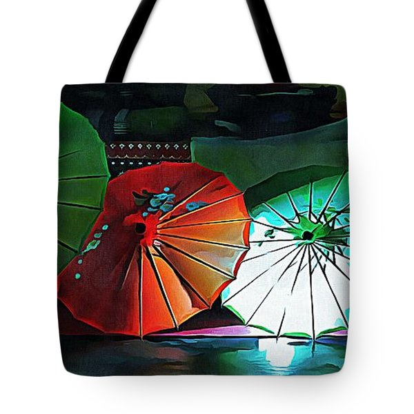 Tote Bag featuring the photograph Illuminated Oriental Parasols by Dorothy Berry-Lound