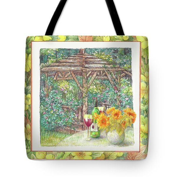Illustrated Sunflower Picnic Tote Bag