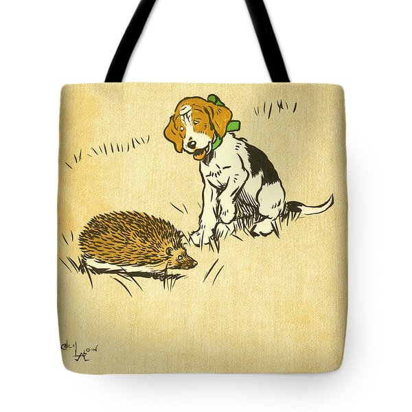 Puppy And Hedgehog, Illustration Of Tote Bag
