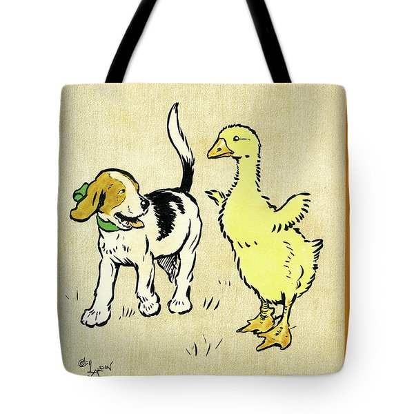 Illustration Of Puppy And Gosling Tote Bag