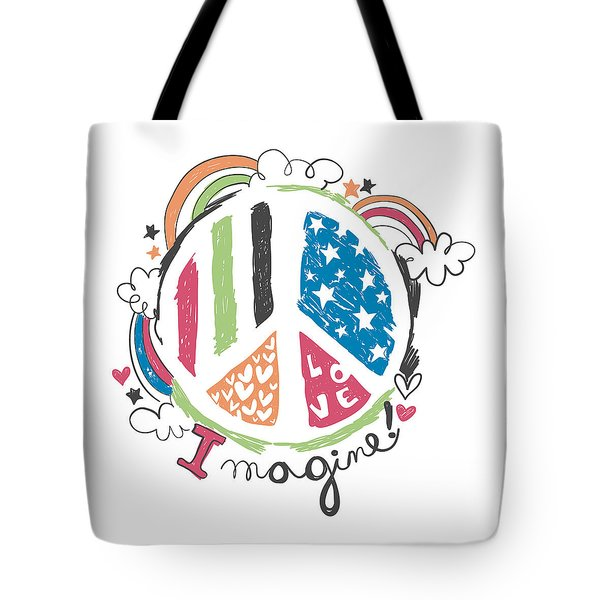 Imagine Love And Peace - Baby Room Nursery Art Poster Print Tote Bag