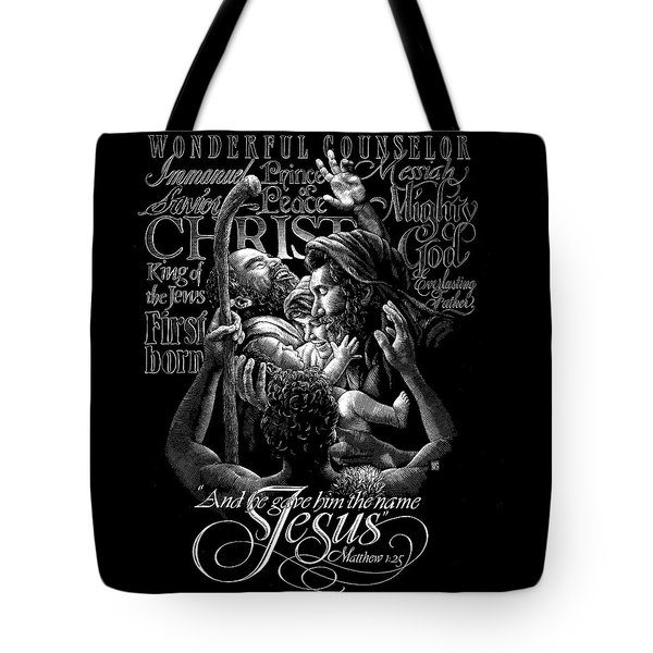 Tote Bag featuring the drawing Immanuel by Clint Hansen
