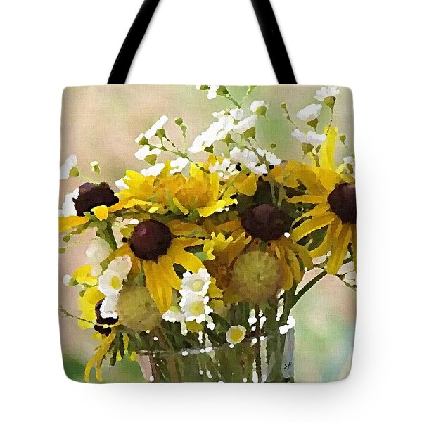Tote Bag featuring the digital art Impressionist Wildflower Arrangement by Shelli Fitzpatrick