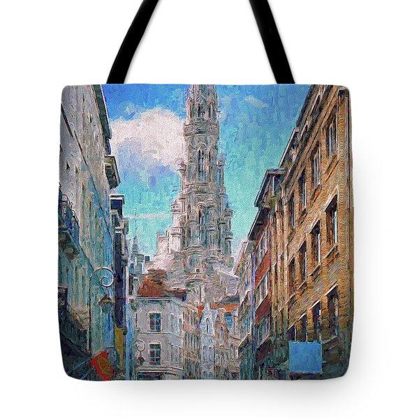 In-spired  Street Scene Brussels Tote Bag