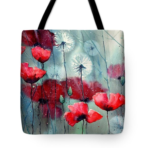 In The Night Garden - Rising Poppies Tote Bag