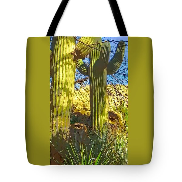 In The Shadow Of Saguaros Tote Bag