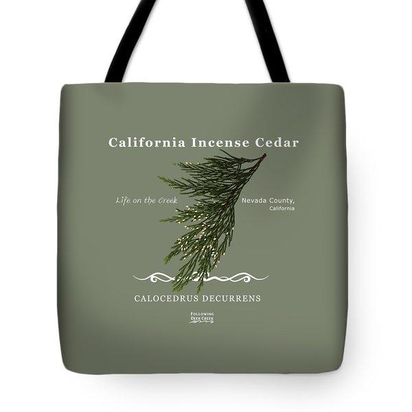 Incense Cedar - White Text Tote Bag