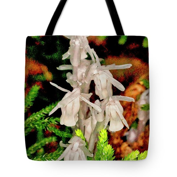 Indian Pipes On Club Moss Tote Bag