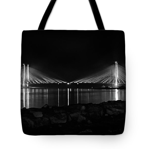 Indian River Bridge After Dark In Black And White Tote Bag