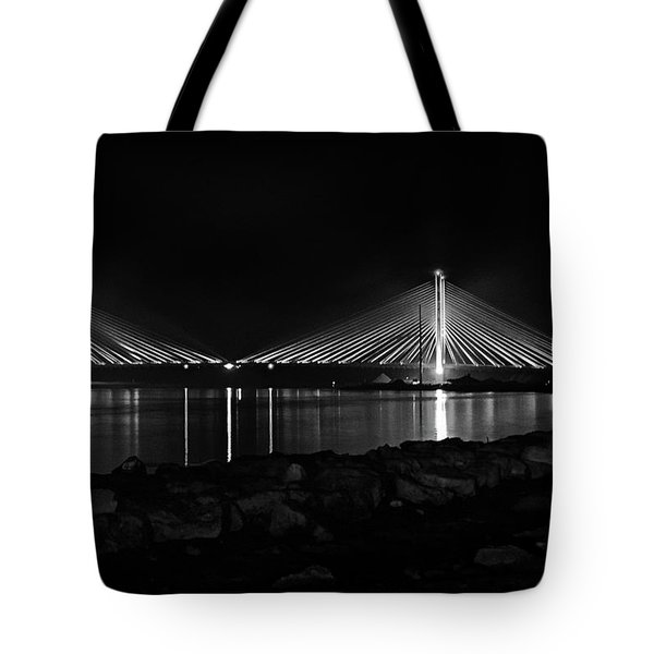 Tote Bag featuring the photograph Indian River Bridge After Dark In Black And White by Bill Swartwout Fine Art Photography