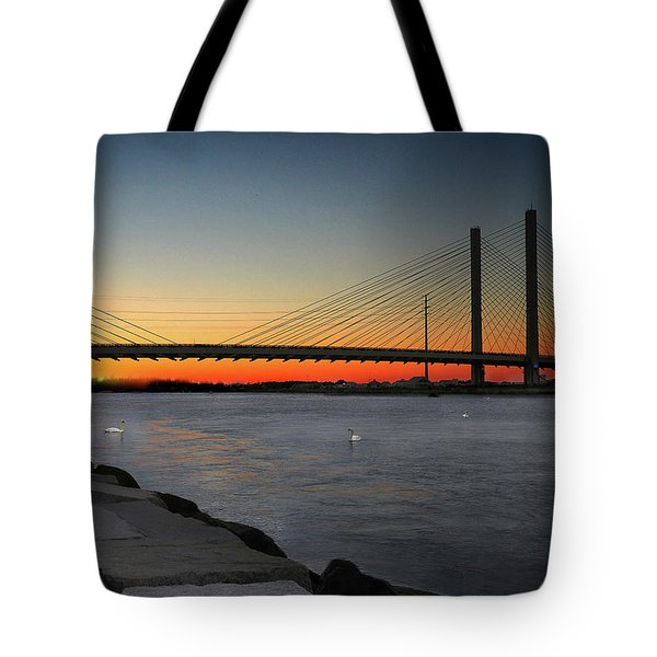 Tote Bag featuring the photograph Indian River Bridge Over Swan Lake by Bill Swartwout Fine Art Photography