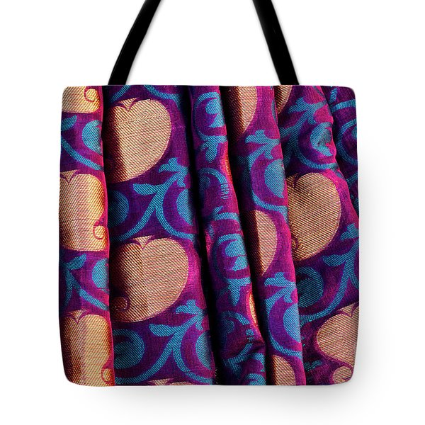 Tote Bag featuring the photograph Indian Silk Sari Pattern by Tim Gainey