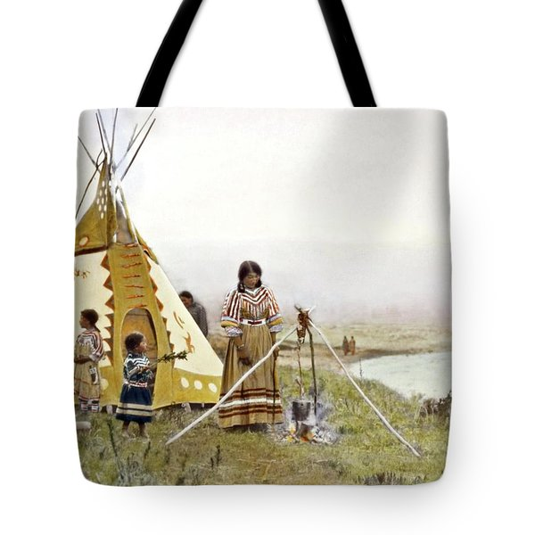 Indian Woman Standing At Cooking Tripod Near Water With Two Young Indian Girls At Her Left By Walter Tote Bag