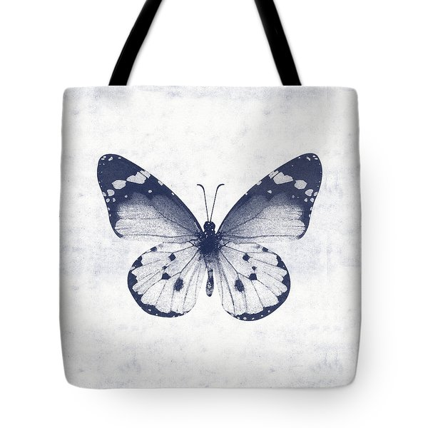Indigo And White Butterfly 1- Art By Linda Woods Tote Bag