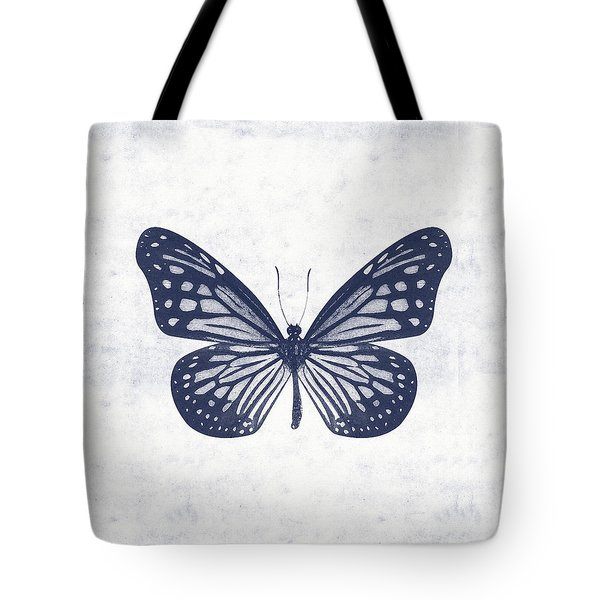 Indigo And White Butterfly 2- Art By Linda Woods Tote Bag