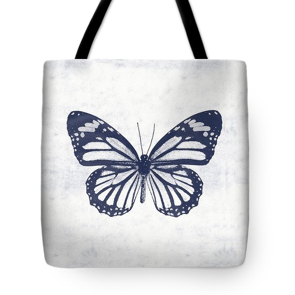 Indigo And White Butterfly 3- Art By Linda Woods Tote Bag