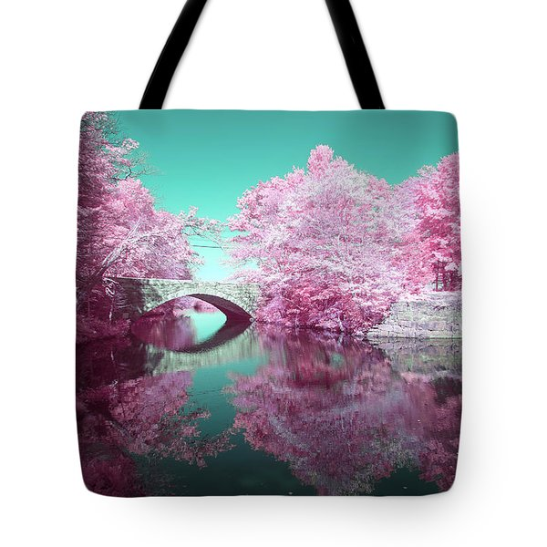 Tote Bag featuring the photograph Infrared Bridge by Brian Hale