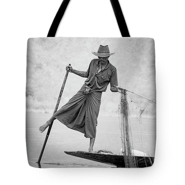 Inle Lake Fisherman Byw Tote Bag