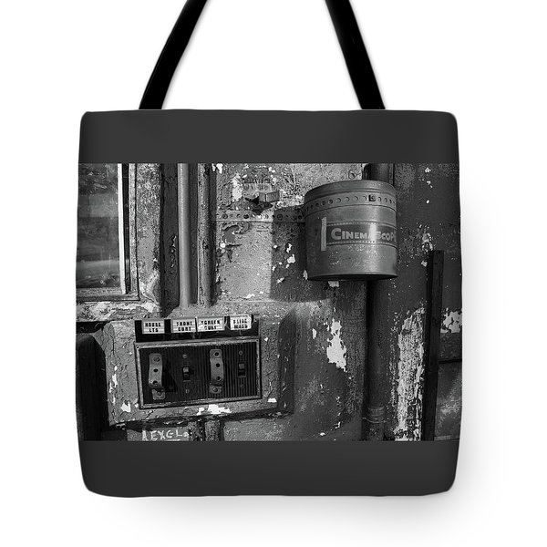 Tote Bag featuring the photograph Inside The Projection Room - Bw by Kristia Adams