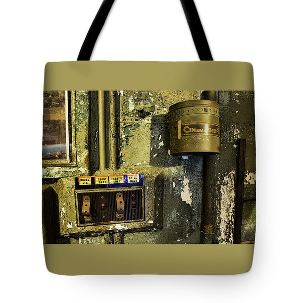 Tote Bag featuring the photograph Inside The Projector Room by Kristia Adams