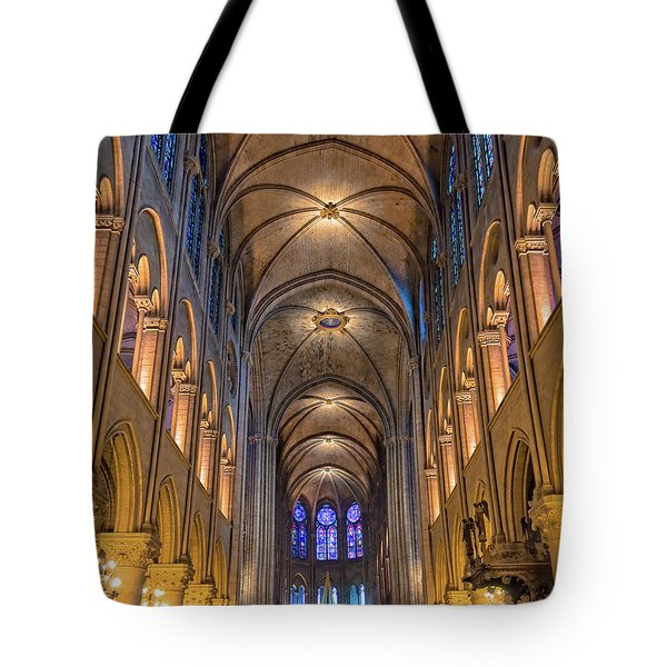 Interior Of Notre Dame De Paris Tote Bag